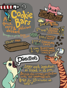 A recipe for cookie bars. Digital, 2012