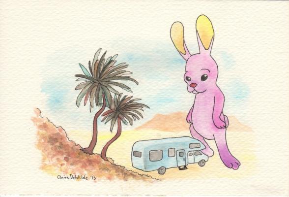 """""""Desert Rabbit"""" Watercolor and Ink, 2013"""
