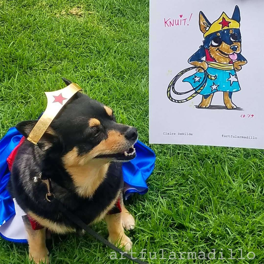 A caricature of Wonder Dog!