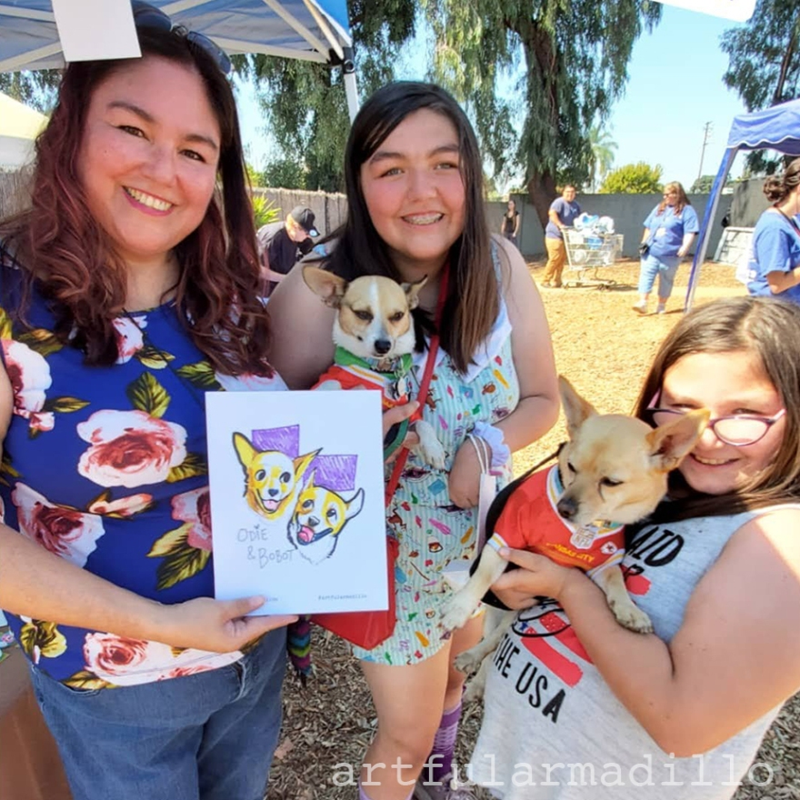 A family poses with their pet caricature